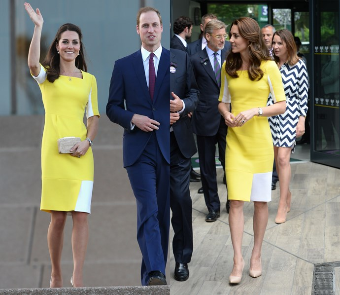 ***Yellow Roksanda dress***<br> After debuting this bright yellow dress in Australia in 2014, it made another appearance in 2016 at Wimbledon.