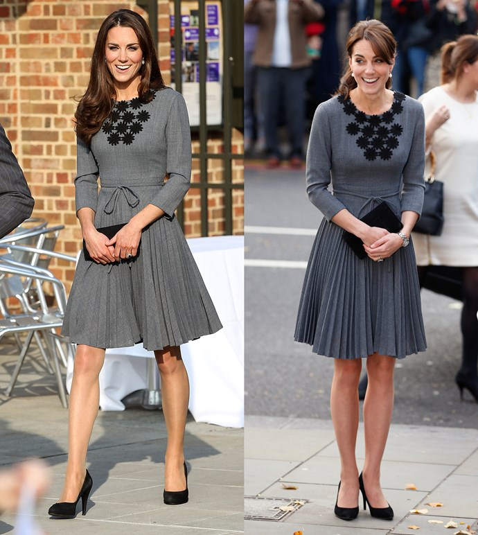 ***Grey Orla Kiely dress***<br> For both appearances of this grey Orla Kiely dress, the styling was kept almost identical—except for Kate swapping out her curls for a rare ponytail.