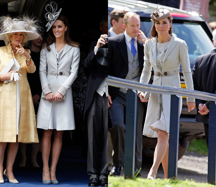 ***Grey Katherine Hooker coat***<br> Another piece that has gotten some love from both before and after Kate's marriage, this Katherine Hooker coat is the perfect shade of silver-grey.