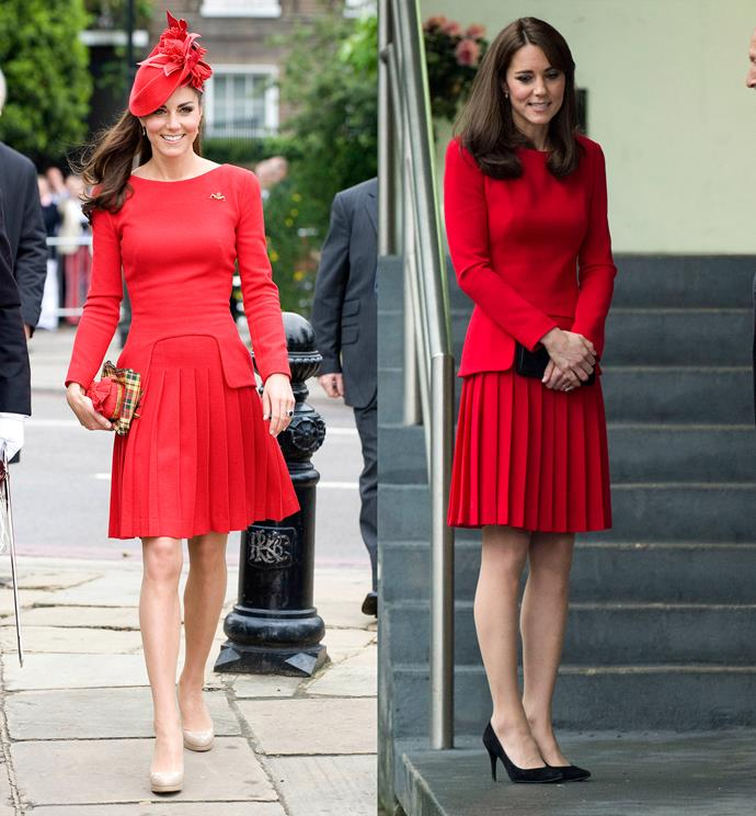 ***Red Alexander McQueen dress***<br> What a difference a hat makes. Kate has worn this fitted dress by McQueen twice. First, dressed up in 2012 with a matching hat and clutch, and then dressed down in 2015 with simple black pumps.