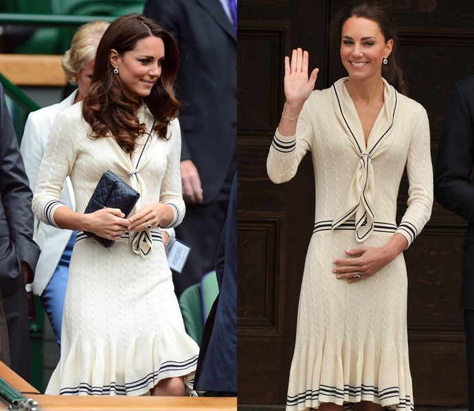 ***Alexander McQueen cream knit dress***<br> This nautical-esque knit dress got an outing in both 2011 and 2012.
