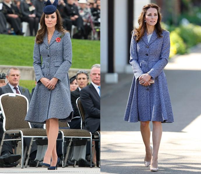 ***Blue Michael Kors coat dress***<br> Kate has worn this blue coat-dress by Michael Kors three separate times.
