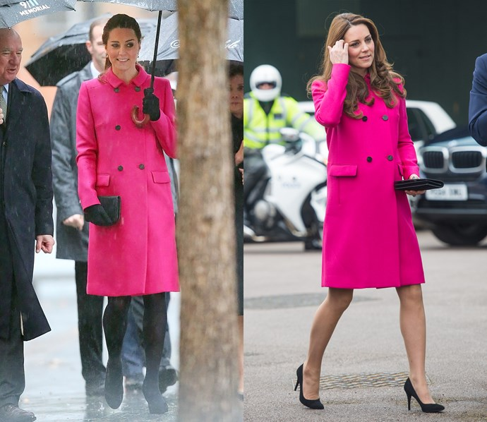 ***Mulberry coat***<br> This bright-pink Mulberry coat has gotten some love during all three of Kate's pregnancies.