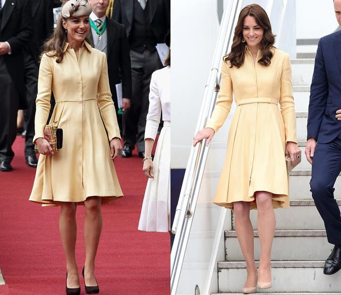 ***Emilia Wickstead yellow coat-dress***<br> Kate wore this lemon-yellow dress to see Prince William knighted in 2012, and for a visit to Bhutan in 2016.