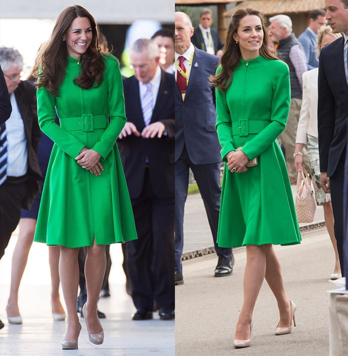 ***Green Catherine Walker coat***<br> Kate wore this bright green coat-dress by Catherine Walker in 2014 and in 2016.