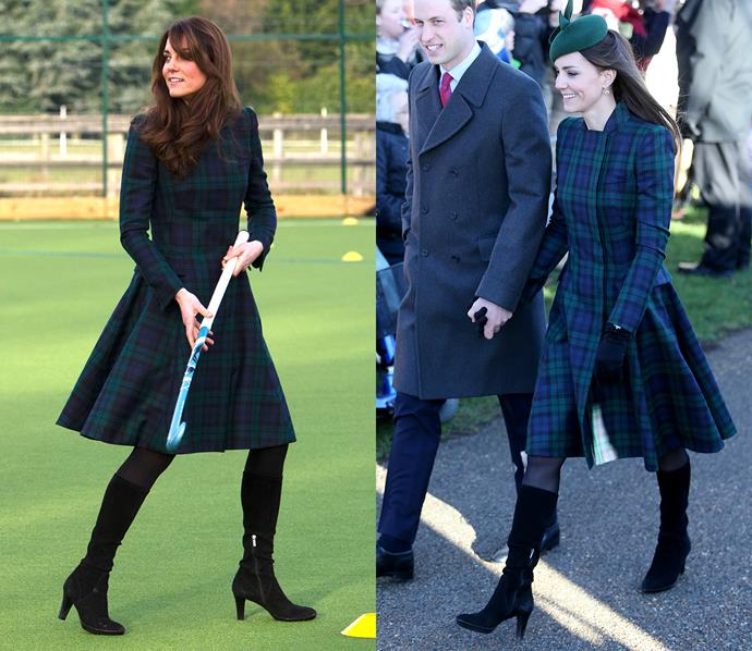 ***Alexander McQueen tartan dress***<br> Get you a dress that can do both. (Both being 'playing hockey with children in a field' and 'attend a Christmas Service with the Queen of England.')