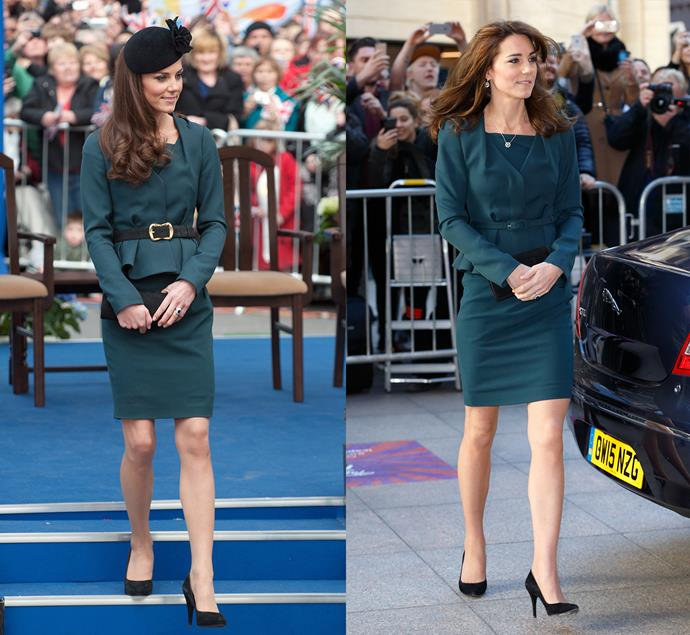 ***Petrol green LK Bennett suit***<br> Kate first wore this green LK Bennett skirt-suit in 2012 to the Diamond Jubilee, and then again—sans belt and hat—in 2015.