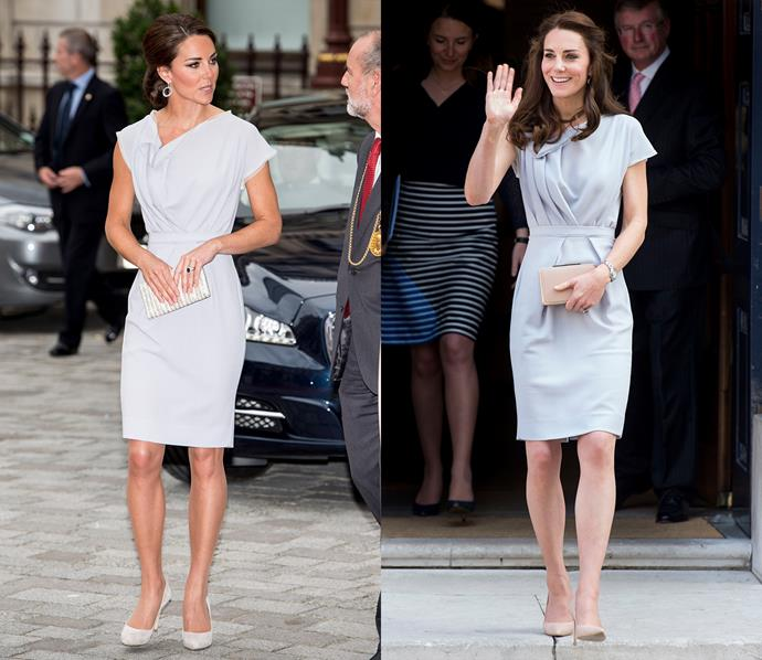 ***Roksanda draped dress***<br> This silvery-blue Roksanda Ilincic dress can be dressed both up and down—as seen on Kate in 2012 and 2016.