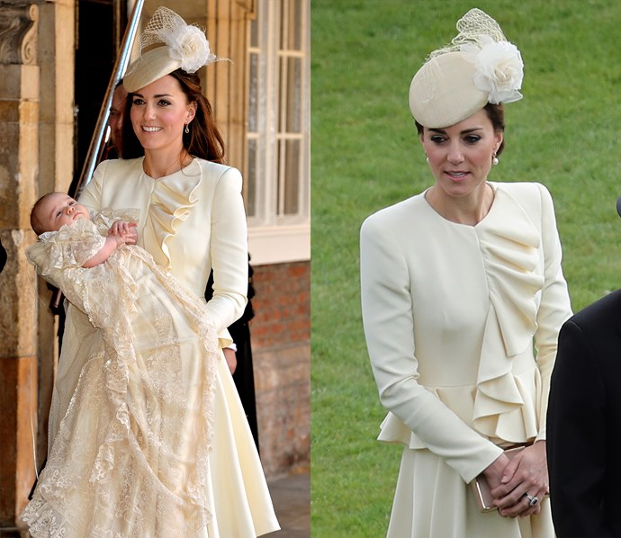 ***Alexander McQueen cream dress***<br> Proving that no dress is too special to repeat, Kate re-wore the McQueen dress she had made for Prince George's christening to a garden party in 2016.