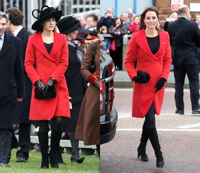 ***Red Armani coat***<br> In what might be her most long-standing repeat, Kate first stepped out in this red Giorgio Armani coat in 2006, years before her engagement. She then rewore it in 2013, while pregnant with Prince George.