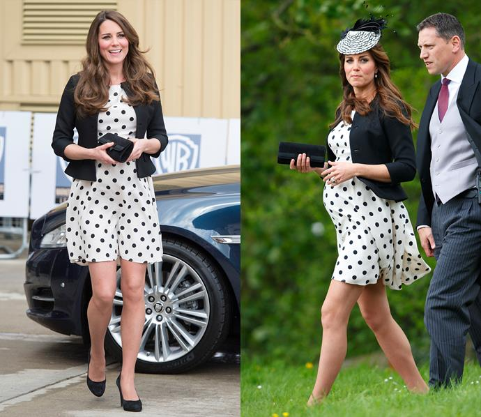 ***Topshop polka dot dress***<br> While pregnant with Prince George in 2013, Kate wore this Topshop polka dot dress three times.