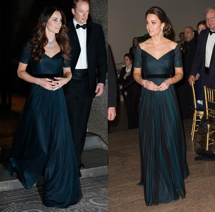 ***Petrol blue Jenny Packham gown***<br> Kate only has a handful of gowns for full-blown formal events, and tends to bounce between them. This Jenny Packham one is a favourite.