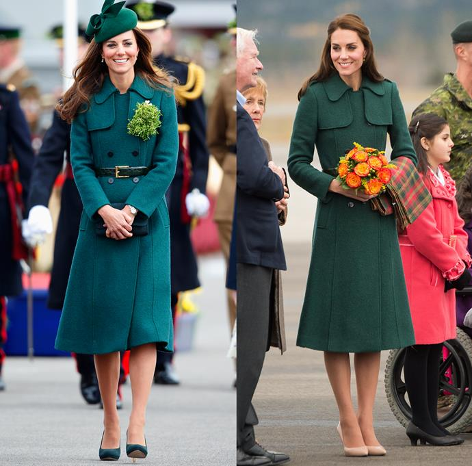 ***Green Hobbs coat***<br> Because she does not own enough green coats (she wears a new green coat for every St Patrick's Day celebration, of which there have been 7 so far), Kate wore this Hobbs coat twice.