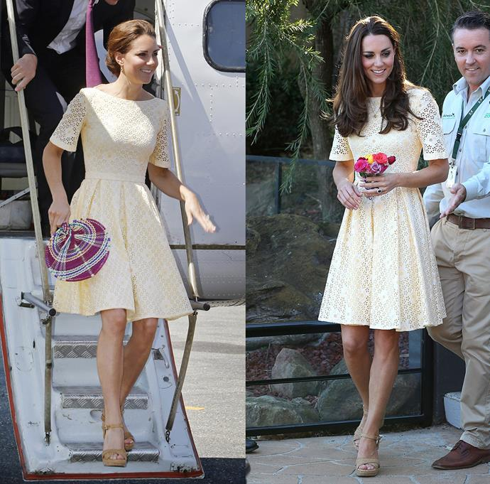 ***Yellow anglaise dress***<br> Wearing it first in 2012, Kate wore this yellow eyelet fit-and-flare dress to take those iconic family photos in the Taronga Zoo in 2014.