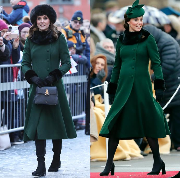 ***Green Catherine Walker coat***<bR> For her third pregnancy with Prince Louis, Kate wore this green coat twice—once in January and once in March.