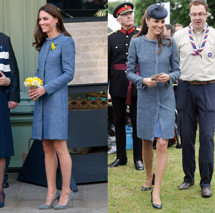 ***Blue tweed M Missoni coat***<br> Another firm favourite, Kate has worn this blue tweed coat by M Missoni four separate times.