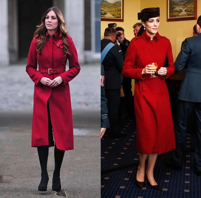 "***LK Bennett ""Ami"" coat***<br> Although, admittedly, Kate does own a lot of red coats—this might be her *favourite* red coat."