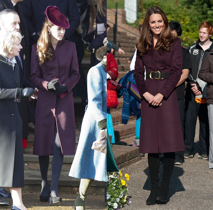 ***Purple coat***<br> This unidentified purple coat (which actually rumoured to be of Kate's own design) was first worn to a Christmas Service in 2011, and then again in 2012.