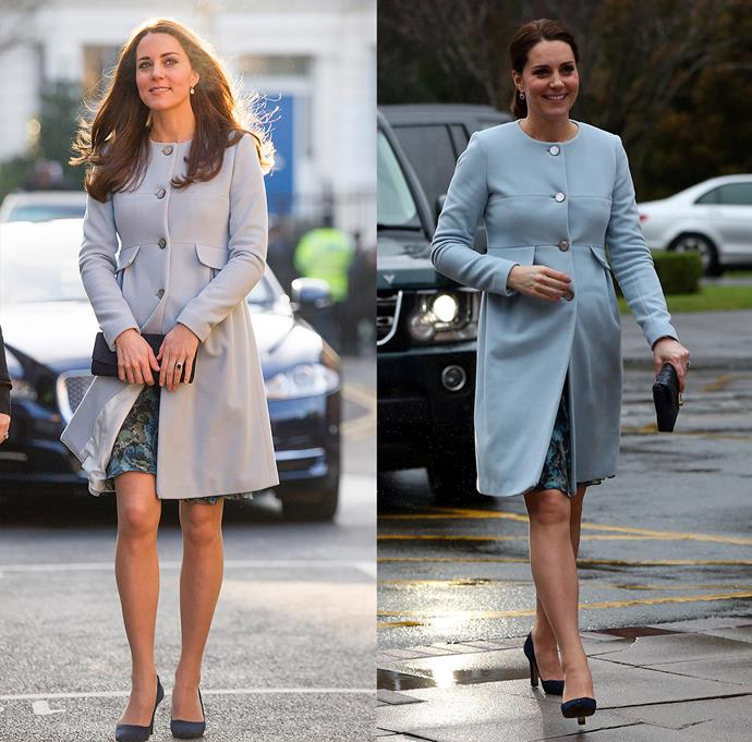 ***Blue Seraphine coat***<br> For all three of her pregnancies, Kate has turned to the label Seraphine for her maternity inspiration. She wore this baby blue coat by the label while pregnant with Princess Charlotte in 2015 and Prince Louis in 2018.