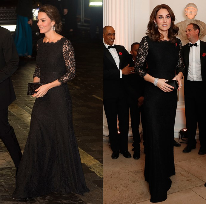 ***Diane von Furstenberg lace gown***<br> So far, Kate has worn this black lace gown by Diane von Furstenberg twice. She first wore it to a Royal Variety Performance in 2014 (left) and then again to the Anna Freud National Centre for Children and Families gala in November, 2017 (right).