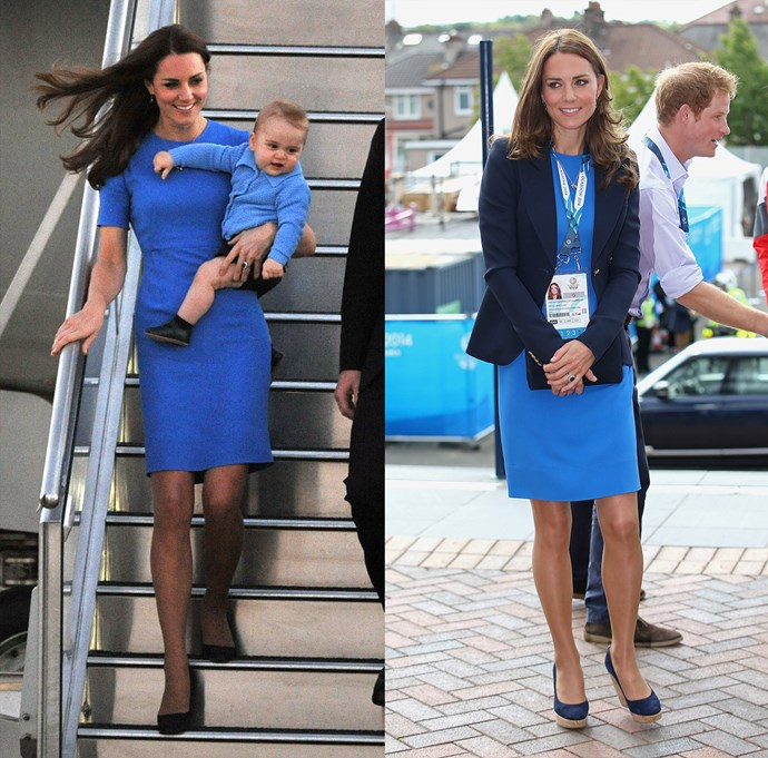 ***Stella McCartney 'Ridley' dress***<br> Although she does love a re-run, Kate doesn't usually wear something more than two or three times—unless she really loves it. As is the case with this royal blue Stella McCartney dress, which she has worn no less than four times. Here she is wearing it in Canberra and at the Commonwealth Games, both in 2014.