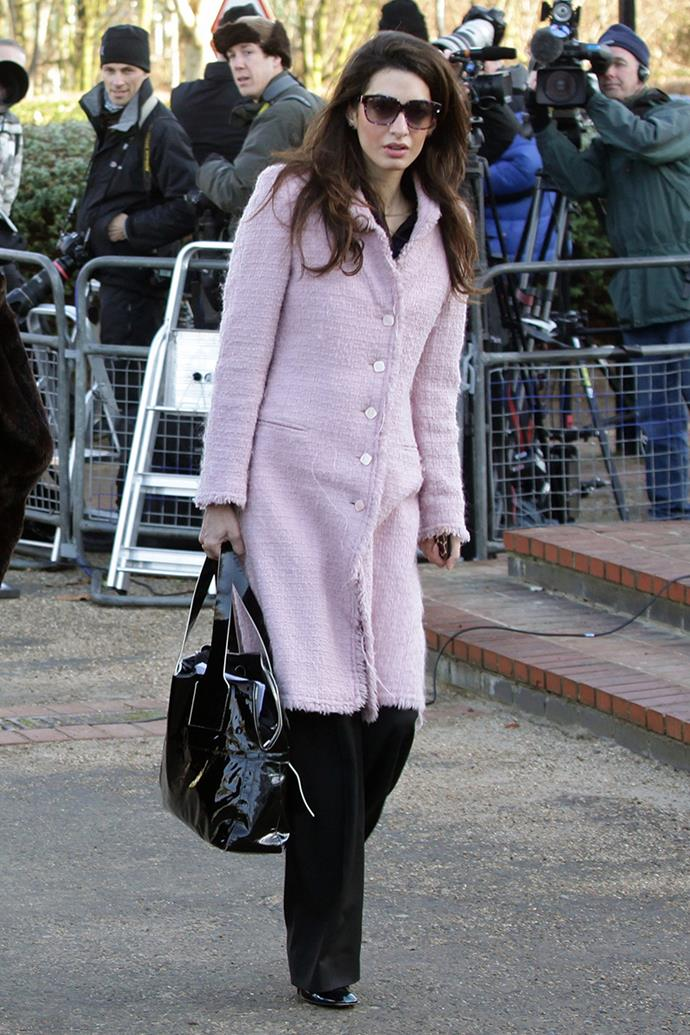 Amal Clooney at the Belmarsh Magistrates Court defending WikiLeaks founder Julian Assange on alleged sex crimes in August, 2011