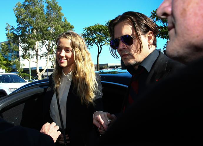 Amber Heard and Johnny Depp at Southport Courthouse on charges of illegal importation of their dogs into Australia in April, 2016
