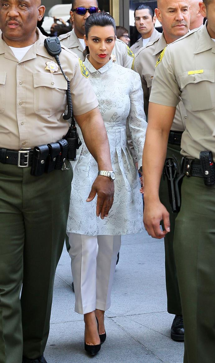 Kim Kardashian at the Stanley Mosk Courthouse after her divorce hearing with Kris Humphries in April, 2013