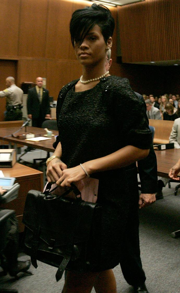 Rihanna at the Superior Court for her assault trial against Chris Brown in June, 2009