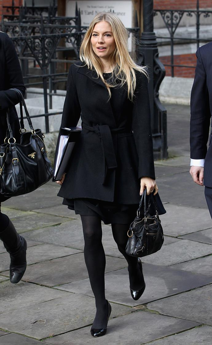 Sienna Miller giving evidence at the High Court for the Leveson Inquiry in November, 2011