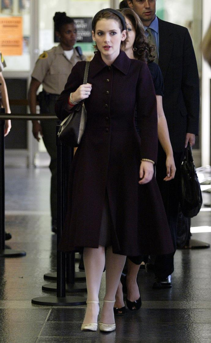Winona Ryder at the Beverly Hills Municipal Court as part of her shoplifting trial in November, 2002.