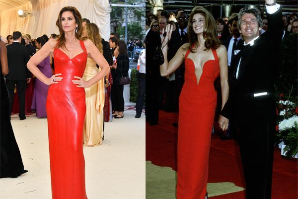 "**CINDY CRAWFORD** <br><br> Cindy Crawford donned one of Versace's most historic gowns to the 1991 Academy Awards (pictured with then-husband Richard Gere). <br><br> Proving she's still a fashion force in 2018, Crawford channelled the look in a similar gown, also by Versace, at this year's [Met Gala](https://www.harpersbazaar.com.au/fashion/met-gala-2018-best-and-worst-dressed-16433|target=""_blank"")."