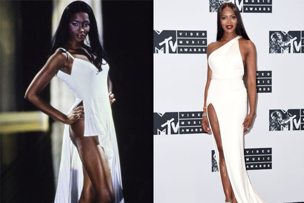 **NAOMI CAMPBELL** <br><br> As one of Gianni Versace's favourite muses, Naomi Campbell ruled the runways in the '90s.  <br><br> The Brandon Maxwell dress Campbell wore to the 2016 VMA's (right), whether intentional or not, seemed like a nod to her days on the Versace catwalk, pictured on the left in 1995.