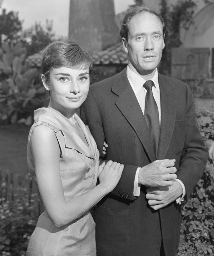 Audrey Hepburn and Mel Ferrer outside their villa after fleeing Switzerland after their wedding in September 1954