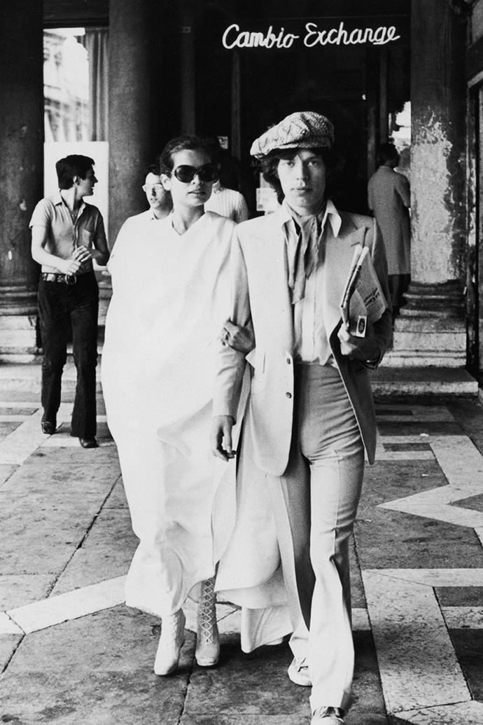 Bianca and Mick Jagger exploring Venice in June 1971