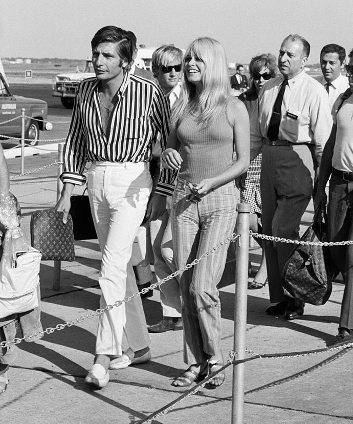 Brigitte Bardot and Gunther Sachs von Opel returning from Mexico and Tahiti in July 1966