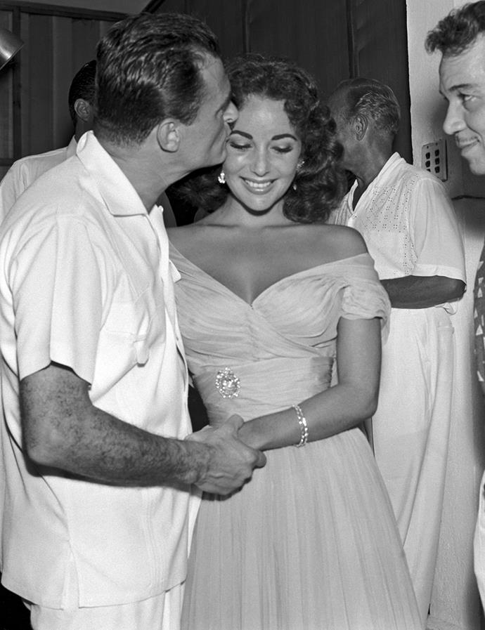 Elizabeth Taylor and Mike Todd out in Mexico in February 1957