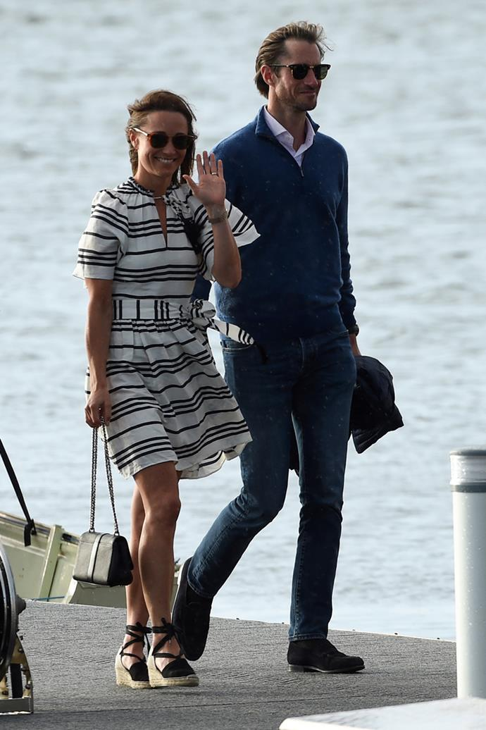 Pippa Middleton and James Matthews arriving in Sydney's Rose Bay in May, 2017
