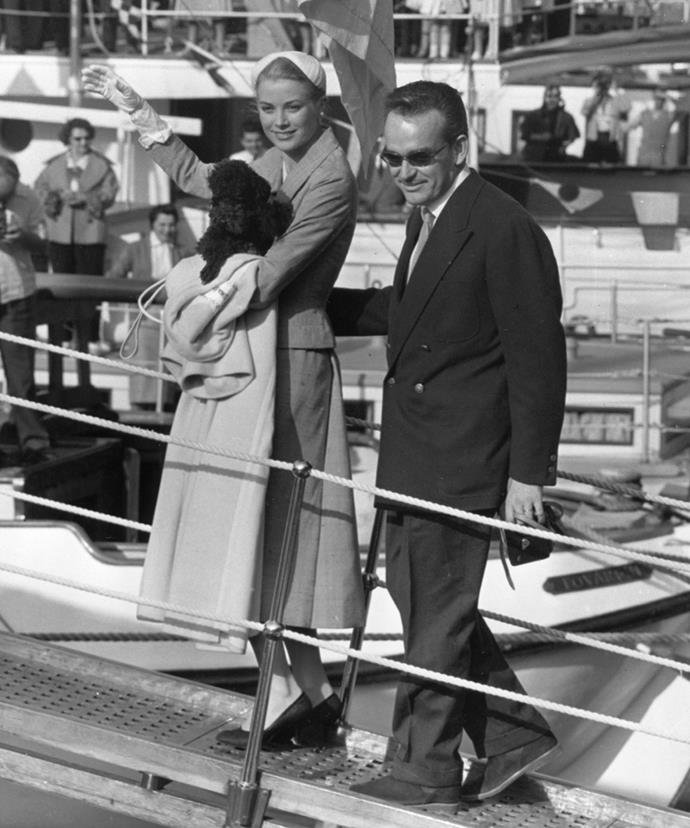 Grace Kelly and Prince Ranier of Monaco boarding their cruise to Majorca in May 1956