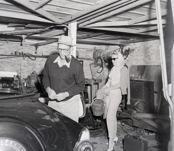 Marilyn Monroe and Arthur Miller honeymoon picnic outside Englefield Green house in June 1956