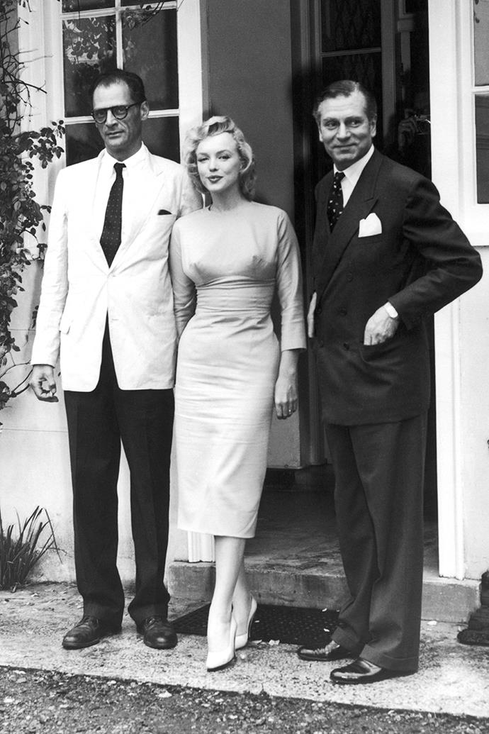 Marilyn Monroe and Arthur Miller outside outside Englefield Green House, where they spent their honeymoon in July 1956