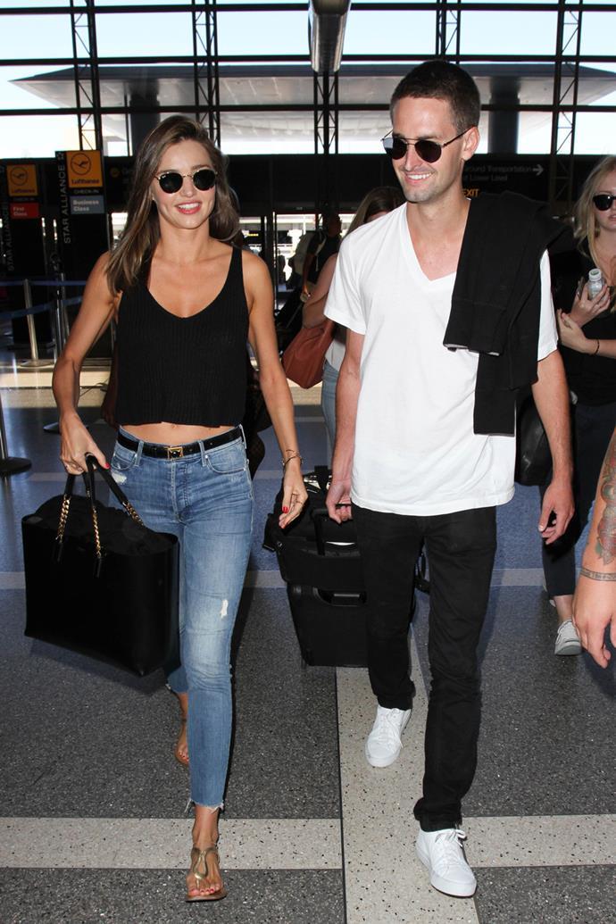 Miranda-Kerr and Evan-Spiegel on their way to Fiji in June 2017