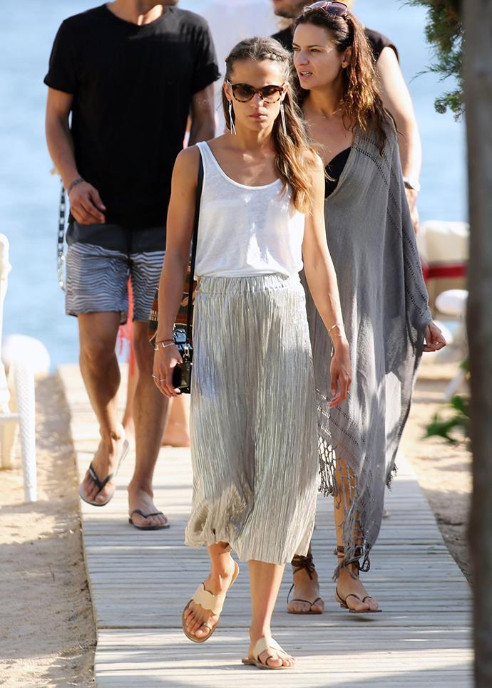 Alicia Vikander and Jon Kortajarena with friends in Ibiza in July, 2017