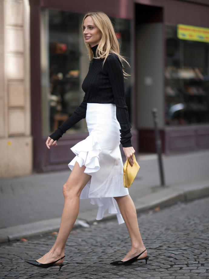 ***With a summer skirt***<br> Whether it's a mini, a ruffled hem or a tea-length, any summer skirt can be brought into winter with a warm skivvy.