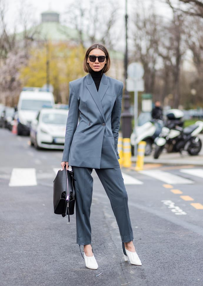 "***Under a suit***<br> Whether we're at after-work drinks, work, brunch, a wedding, [*our* wedding](https://www.harpersbazaar.com.au/fashion/emily-ratajkowski-wedding-day-zara-suit-15848|target=""_blank""), a suit works.  Carry yours through the colder months by layering up."