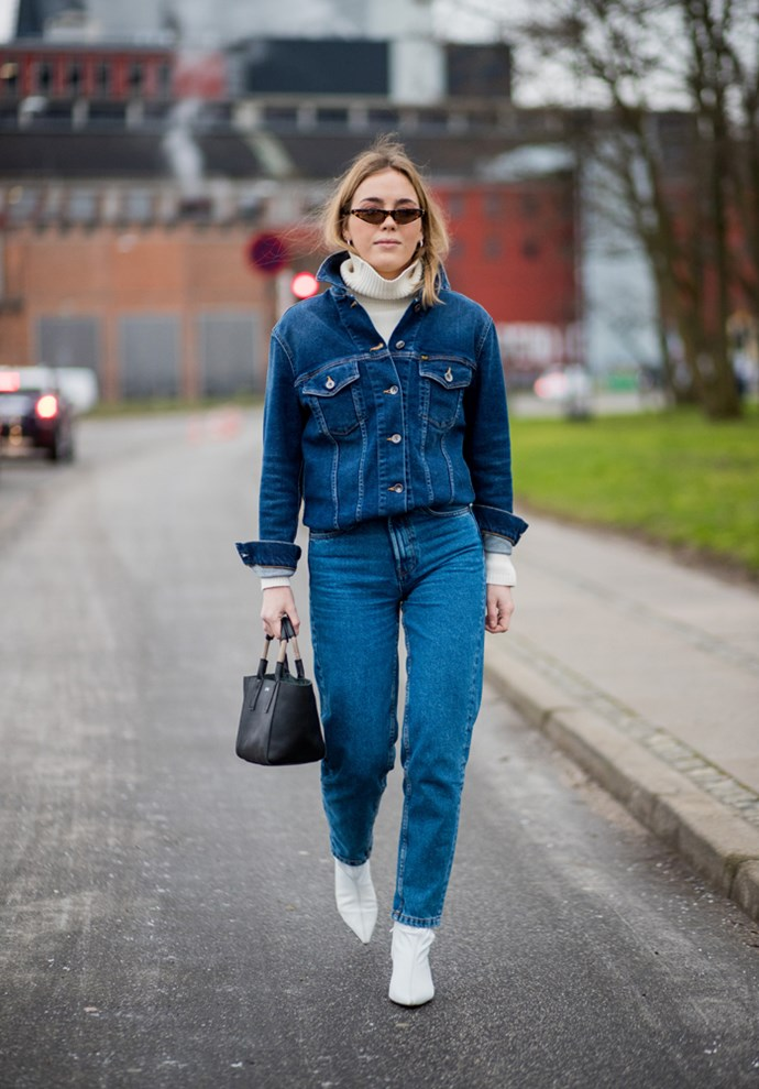 ***Under a denim jacket***<bR> Want to warm up a thin denim jacket and break up a potential Canadian tuxedo in one fell swoop? You guessed it.