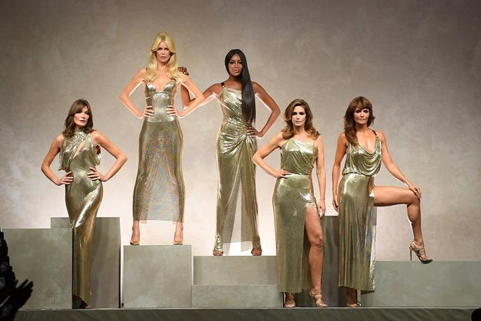 Carla Bruni, Claudia Schiffer, Naomi Campbell, Cindy Crawford and Helena Christensen at Versace's Milan Fashion Week Show, 2017
