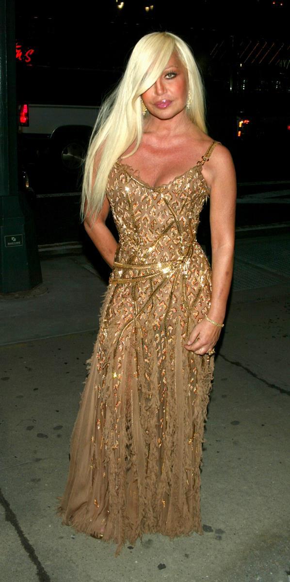 Donatella Versace at the amFAR Benefit Evening, 2003