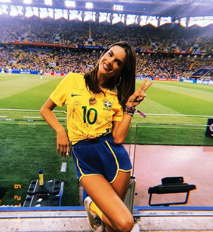 Alessandra Ambrosio, supporting the Brazilian soccer team.