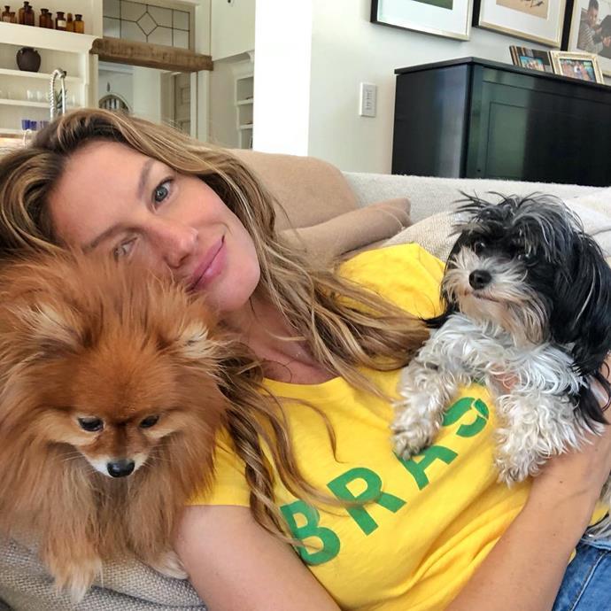 Gisele Bündchen, supporting the Brazilian soccer team.
